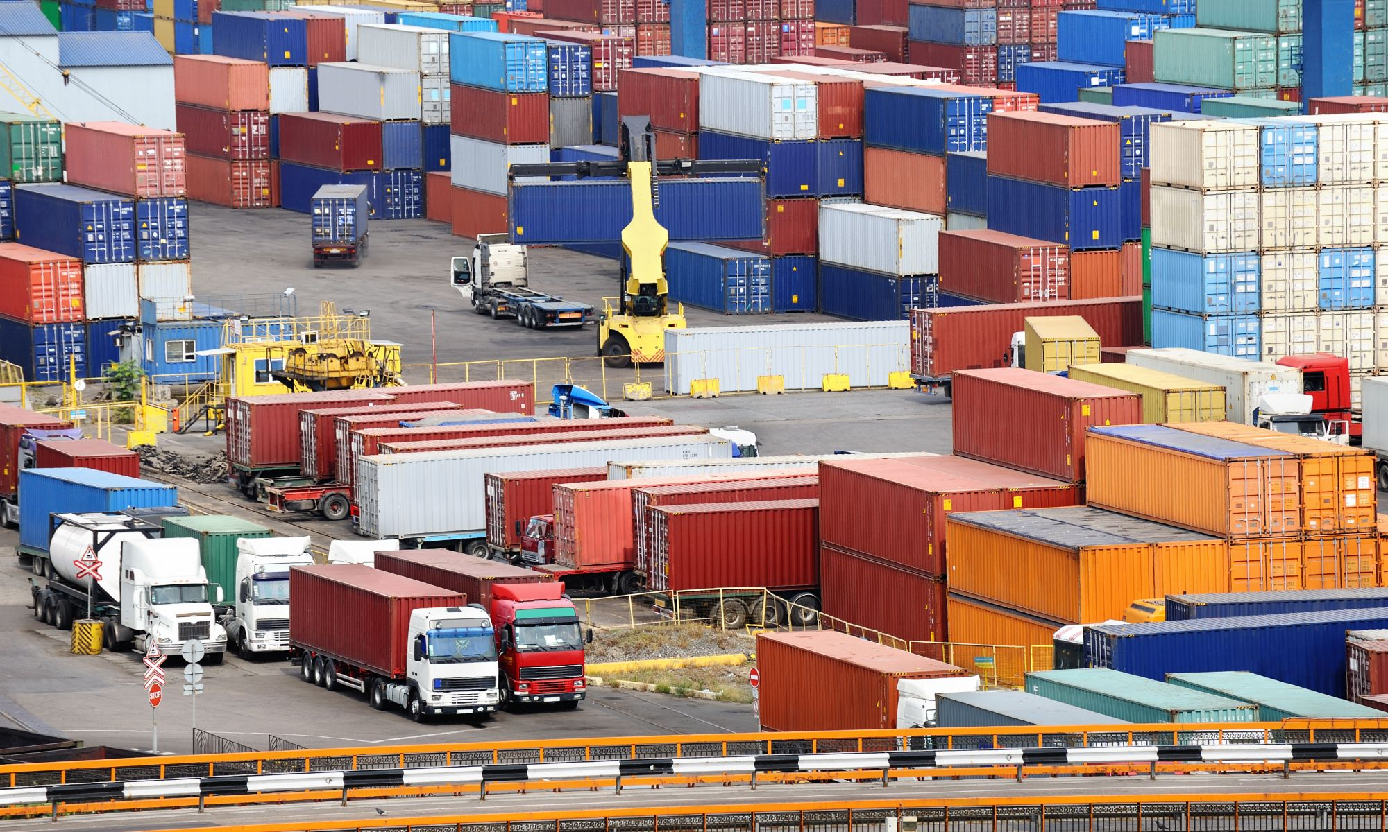 sea container warehouse and truck